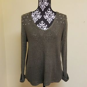 RD Style Studded Shoulder Knit Sweater, sz M